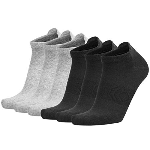 Zisuper Womens Low Cut Ankle Athletic Socks No Show Sport Breathable Organic Cotton Tab Sock 6 Pack (3Black3Grey)