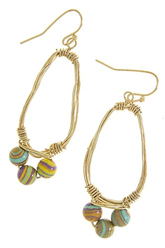 TRENDY FASHION JEWELRY COLORFUL ORB BEAD DROP EARRINGS BY FASHION DESTINATION   (Mint)