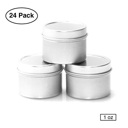 (Mimi Pack 1 oz Deep Round Metal Tin Container Solid Slip Top Lid For Salves, Favors, Spices, Balms, Candles, Gifts 24 Pack (Silver))
