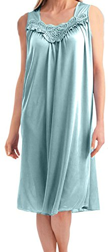 Womens Faux Silk and Lace Sleeveless Nightgown,Robin Egg Blue,X-Large