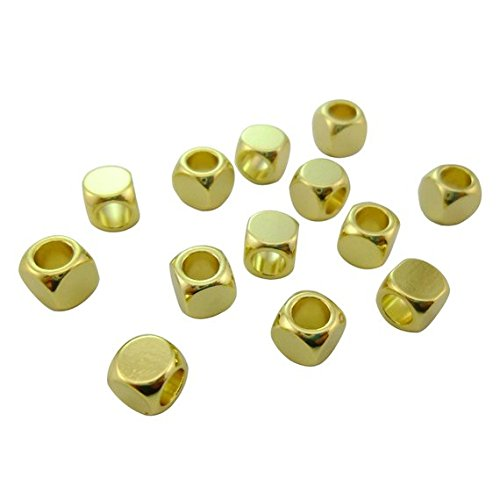 15pcs Dainty 6mm Large Hole Shiny Gold (Contains Real Gold) Rounded Faceted Cube Beads Leather Rope Initials Custom Wedding Gifts Available for Engraving Logos ()