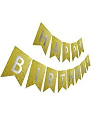 Glitter Birthday Banner, Purple Happy Birthday Sign, Pre-strung Sparkling Gold Letter Party Bunting