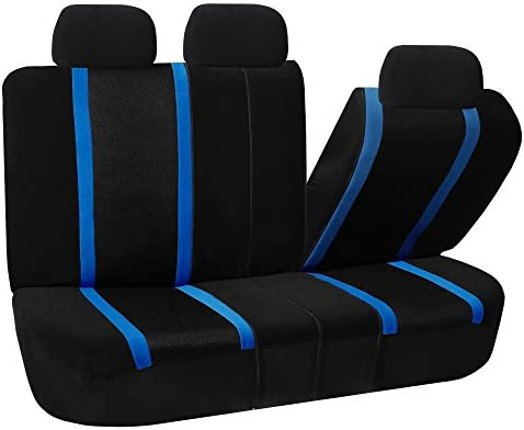 FH GROUP FH-FB070013 Sports Bench Seat Cover - Rear Split Bench, Blue /  Black - Fit Most Car, Truck, Suv, or Van