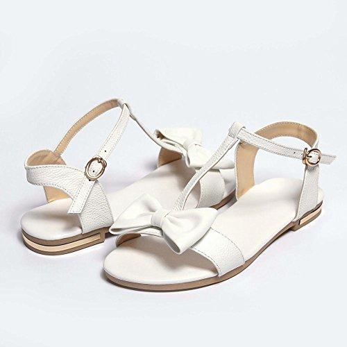 Pied De Charme Femmes T Sangle Doux Arcs Bout Ouvert Sandales Blanc