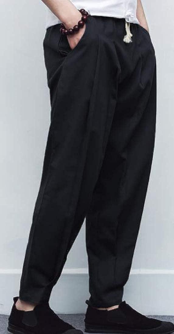 Macondoo Mens Summer Open Bottom Cotton Linen Chinese Style Baggy Pants