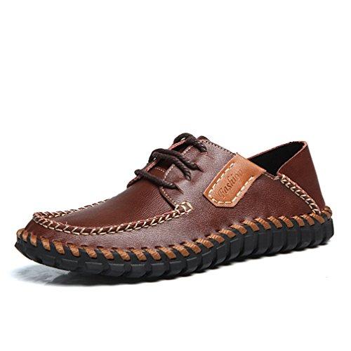 レプリカ覆す見落とす[QIFENGDIANZI] メンズ カジュアルシューズ デッキシューズ 靴 ドライビングシューズ スニーカー 紳士靴 ローカット アウトドア オシャレ スリッポン コンフォート ブラック コーヒー ブラウン