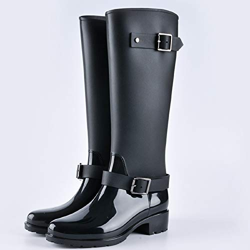 Boots H Bottes Femme Zip Hautes Caoutchouc Wellington En De Imperméable Talon Pluie Noir mastery U7qfrwU