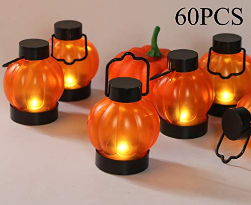 60PCS, Halloween Lantern Outdoor, Small Led Flameless Plastic Battery Operated Pumpkin Rustic Old Flickering Vintage Decorative Kids Halloween Party Hanging Lantern Light Decoration Supply Idea