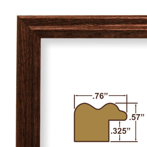 amazoncom 10x16 picture poster frame wood grain finish 75 wide walnut brown 200ash216 art frame molding