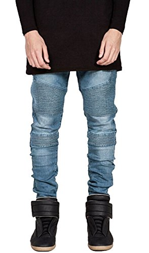 Nice Aiyino Men's Runway Skinny Ripped Distressed Slim Biker Jeans for sale