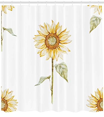 (Ambesonne Sunflower Decor Shower Curtain Set, Sunflowers in Watercolor Painting Effect Minimalistic Design Decorative Artwork, Bathroom Accessories, 69W X 70L Inches, Yellow Green)