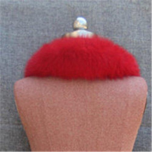 Gegefur Women's Real Fox Raccoon Fur Collar Scarf Wrap For winter (red) by Gegefur (Image #3)