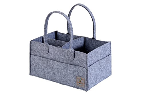 Portable-Diaper-Caddy-Storage-Basket-and-Nursery-Changing-Organizer-Bin-14-x-10-x-7-One-Inch-Longer-and-Wider-Than-Similar-Caddies-To-Hold-More-Essential-Baby-Items-Lightweight-and-Durable