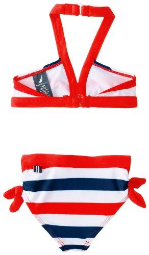 Nautica Baby-Girls Infant Multi Stripe Bikini, True Red, 12 Months