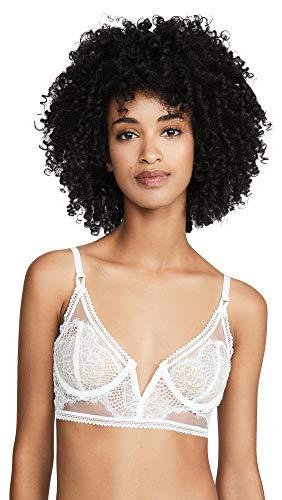 Thistle & Spire Women's Eyelash Lace Mirage Longline Bra, Ivory, White, Off White, 34C