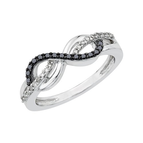 - KATARINA Infinity Black and White Diamond Ring in Sterling Silver (1/5 cttw, I-J, SI) (Size-5.5)