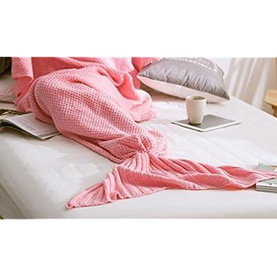 La Petite Sirène sirène couverture tricotée queue children's winter blanket couverture climatiseurs ,50*90, Rose