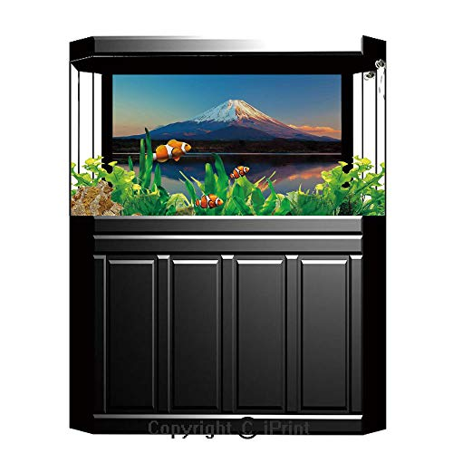 Terrarium Fish Tank Background,The Far East Nature Decor,Mount Fuji and Lake Shoji Picture Clear Sky Sunset Photo Print,Photography Backdrop for Pictures Party Decoration,W48.03