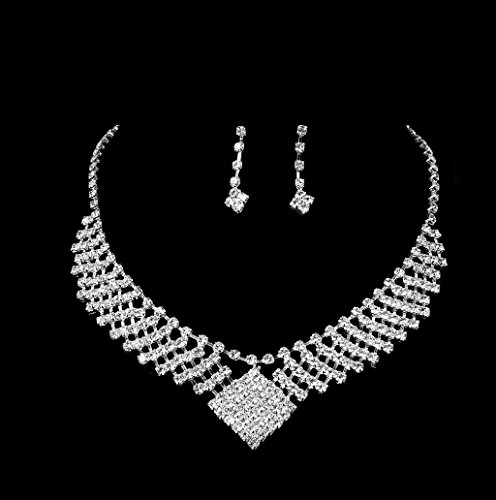 Dairyshop Insieme di monili nuziali della damigella donore di cerimonia nuziale dellorecchino della collana del Rhinestone di lusso delle donne