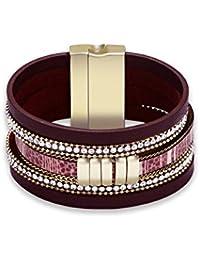 Womens Leather Bangle Bracelet, Vintage Bracelet Brown/Black Crystal Wide Bangle Gifts for Women