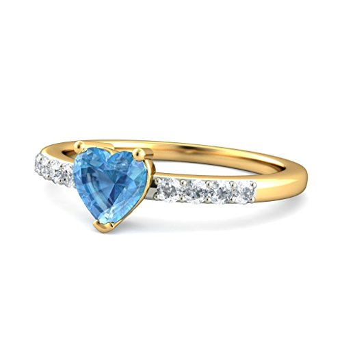 18 K Or jaune, 0,12 carat Diamant Blanc (IJ | SI) Topaze bleue et diamant Bague