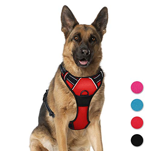 BARKBAY No Pull Dog Harness Large Step in Reflective Dog Harness with Front Clip and Easy Control Handle for Walking Training Running ()
