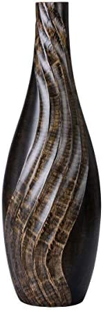 VILLACERA 83-DT5831 Handmade 15″ Tall Black Tear Drop Mango Decorative Wave Carved Bottle Vase