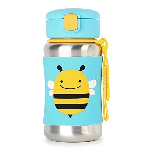 Kids Water Bottle With Straw, Stainless Steel Sippy Cup, Bee Skip Hop 252332