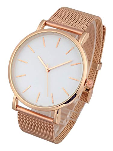 Top Plaza Mens Womens Rose Gold Ultra Thin Bracelet Watch Analog Quartz Stainless Steel Mesh Band Casual Fashion Wrist Watches #3 from Top Plaza