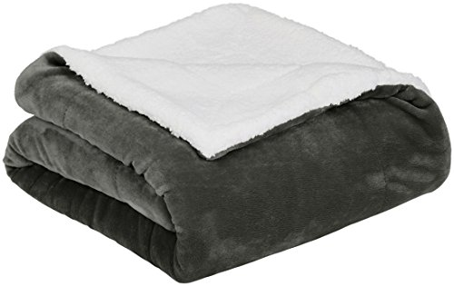 AmazonBasics Soft Micromink Sherpa Blanket - Throw, Charcoal