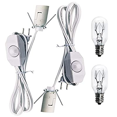 Original Replacement White Cords with Bulbs for Himalayan Salt Rock Lamp with Dimmer Switch and 25W E12 Socket Incandescent Bulbs