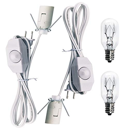 Haraqi Original Replacement White Cords with Bulbs for Himalayan Salt Rock Lamp with Dimmer Switch and 25 Watt E12 Socket Incandescent Bulbs,UL Listed 2 Set