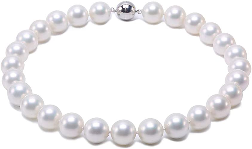 """Natural 11-12mm Pink Round Real Cultured Freshwater Pearl Bride Necklace 18/"""" JYX"""