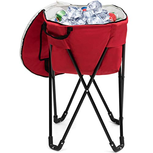 Goplus Portable Ice Cooler Bag, Folding Camping Leakproof Tub Cooler with Stand and Carry Bag, Food-Grade Large Capacity for Outdoor Picnic Red