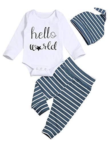 Newborn Baby Boy Clothes Crew Letter Print Romper+Long Pants+Hat 3PCS Outfits Set,Soft Breathable Fabric (White+Black, 3-6 Months) ()