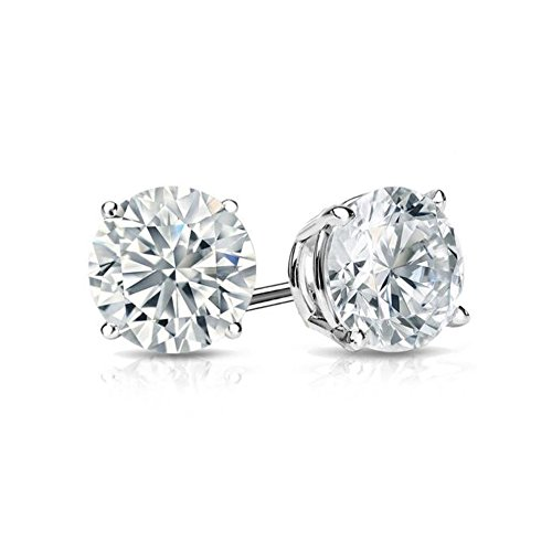(4 CT Round Brilliant Cut CZ Solitaire Stud Earrings in 14k White Gold Brilliant Cut Basket Screw Back)