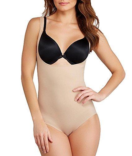 TC Fine Intimates Firm Control Open-Bust Torsette Bodysuit, XXL, Nude