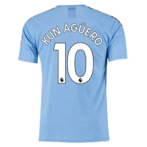 Alpsport #10 KUN Aguero Manchester City Home Soccer Jersey 2018-2019 Season Mens Blue Size M