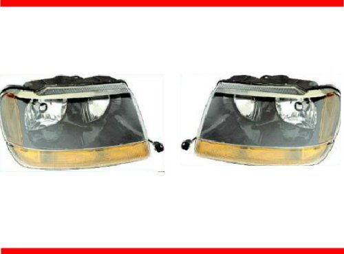 1999-2004 JEEP GRAND CHEROKEE LAREDO Headlight Set LH Driver and RH Passenger Headlights 99 00 01 02 03 04 (These headlamps will also fit the Limited model) 1999 2000 2001 2002 2003 2004 Left and Right Hand Headlamp Pair (01 02 03 04 Headlamp)