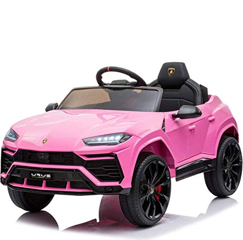 XMGHTU-Kids-Ride-On-Car-12V-Rechargeable-Toy-VehicleCompatible-with-Licensed-Lamborghini-Kids-Car-w-MP3-Remote-ControlEquipped-with-Seat-Belts-Four-Power-Wheel-Shock-AbsorbersUrusLights