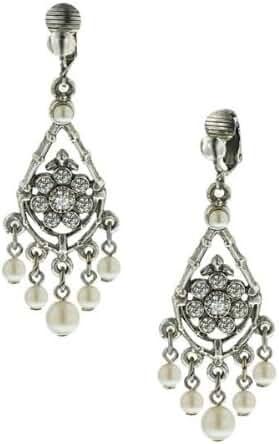 1928 Jewelry Bridal Crystal Chandelier Clip Earrings