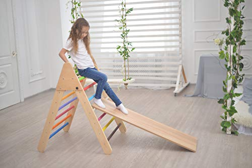 Smart Kids Wooden Little Climber with Slide - Foldable Pikler Triangle - Montessori Ramp - Montessori Triangle - Climbing Gym - Toddler Climber (Painted) by Smart Kids (Image #3)