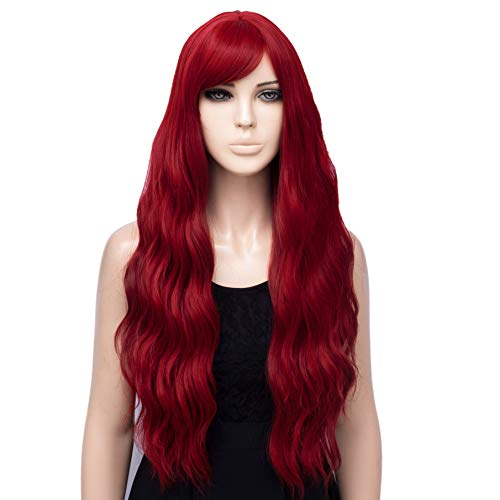 netgo Red Wig Cosplay for Women Long Wavy Heat Resistant Fiber Wigs Side Bangs Party