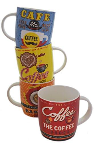 Set 4 Assorted Retro 50's Style 12oz Bone China Colorful Coffee Design Cups Mugs -