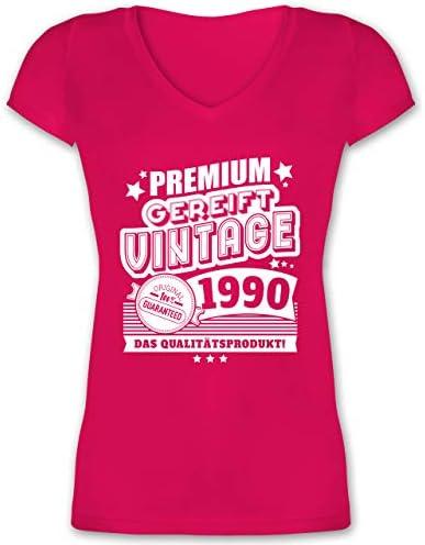 Shirtracer - urodziny - Premium dojrzałe Vintage 1990 30. urodziny - damski t-shirt z wycięciem V: Shirtracer: Odzież