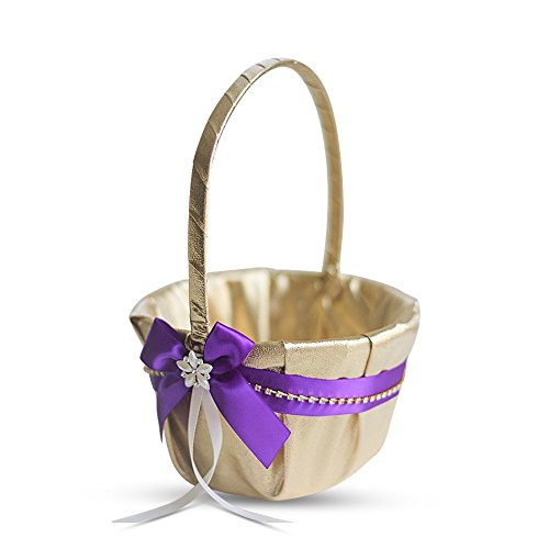 Alex Emotions Gold & Purple Jewel Wedding Ring Bearer Pillow and Flower Girl Basket Set - Satin &Ribbons - Pairs Well with Most Dresses & Themes - Splendour Every Wedding Deserves by Alex Emotions (Image #2)