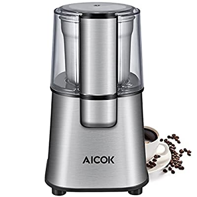 Aicok Electric Coffee Grinder Fast and Fine Fineness Coffee Blade Grinder with Removal Coffee Powder Bowl, Spice Grinder for Coffee Beans, Spices, Nut and Grains, 60g, 200W, Stainless Steel by Aicok