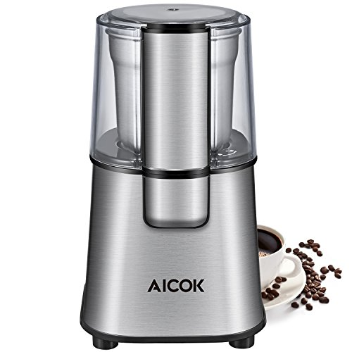 Aicok Coffee Grinder, Electric Spice and Coffee Grinder with Stainless Steel Blades and Removable Coffee Powder Bowl (200W), Silve