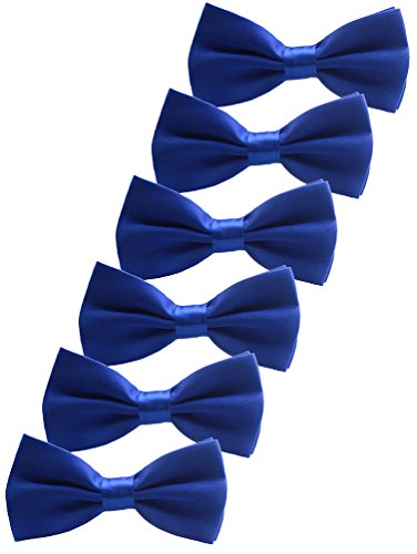Udres 6 Pack Solid Bow Tie Satin Pre-tied Bowtie for Wedding Party (One Size, Blue)]()