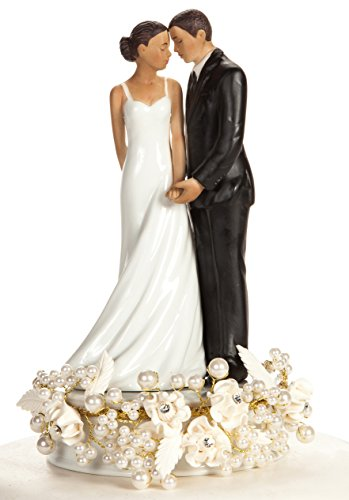 Rose and Pearls Elegant African American Cake Topper (Silver or Gold): Base Color: SILVER WIRING